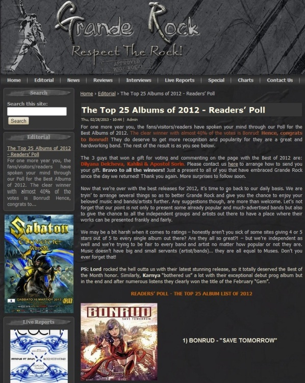 BONRUD voted top album of 2012 by Grande Rock's reader's poll!!!,